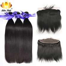 Aliafee Brazilian Straight pre arrancado frontal con bundles deal Non Remy Hair Weave 4 Bundle Deals 100% cabello humano Baby Hair