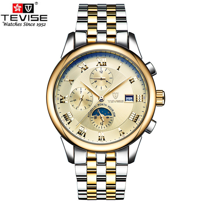 Watches Men Luxury Brand TEVISE Moon Phase Automatic Mechanical Watch Waterproof Stainless Steel Wristwatch relogio masculino tevise men automatic self wind mechanical wristwatches business stainless steel moon phase tourbillon luxury watch clock t805d