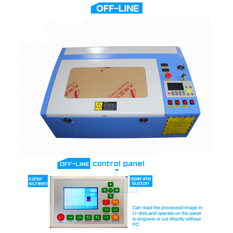 Free Shipping 3040 50W Color Touch Screen Ruida Laser Cutting Machine HF-3040 Co2 50w Automatic Cloth Cutting Machine
