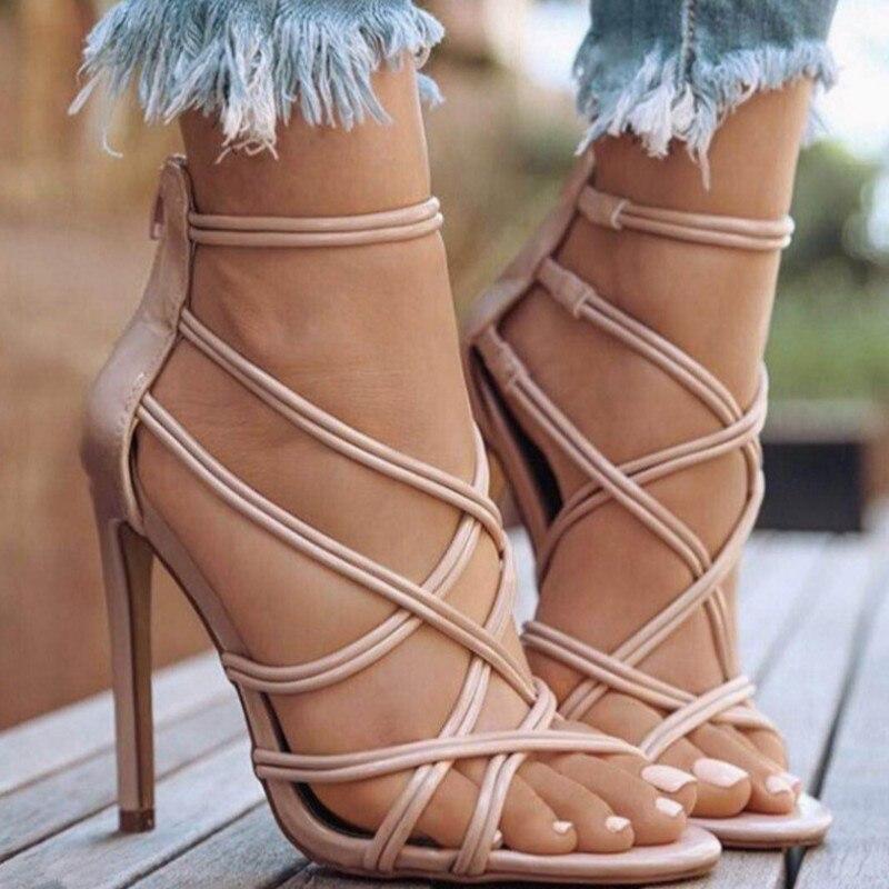 2018 Pour En Sandales Sexy Plus Été Pu Hauts Cuir Simple Femmes Femme Apricot black Chaussures Taille gold Talons Croisées Mince Sangles Dames 41 Printemps xwt0dIqda