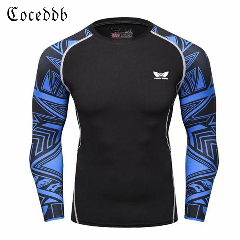 Mens Long Sleeve T shirt Bodybuilding Fitness Clothing 2017 New Mens Compression Sporting Tops Tight Tee