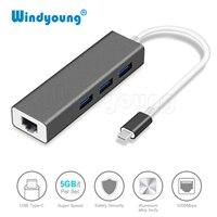 USB C 이더넷 RJ45 Lan 어댑터 유형 c-3 포트 USB 3.0 허브, 10/100/1000Mbps 맥북용 기가비트 이더넷 네트워크 어댑터