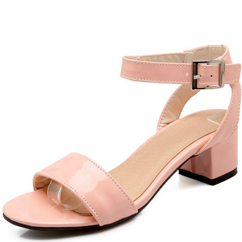 Womens Low Chunky Heel Ankle Strap Sandals Buckle Solid Casual Sandals Shoes Summer Outfit White Pink Green Plus Size 33 46 in Middle Heels from Shoes