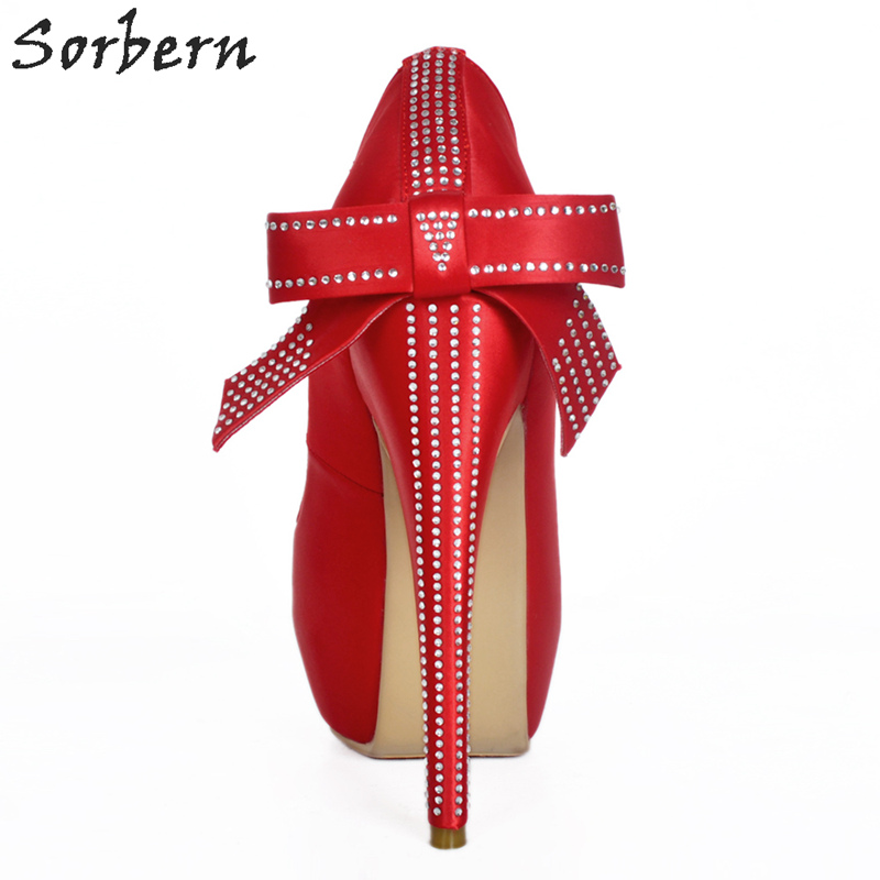 Sorbern Elegant Red Satin Wedding Shoes High Heel Pumps Crystals Bow Knot Open Toe Woman Shoes 2018 Spring Women Heels Diy Color bigtree spring summer women pumps sweet bow knot high heeled shoes thin pink high heel shoes hollow pointed stiletto elegant 22