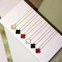 Hot Sell 925 Sterling Silver Four Leaf Clover Flower Jewelry For Women Necklace Black Green Red