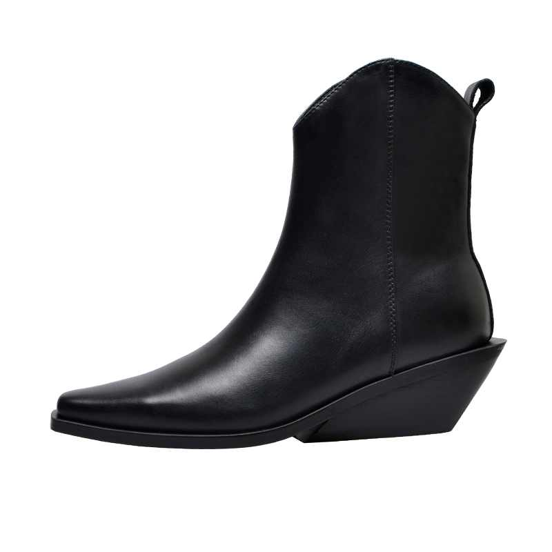 krazing pot recommend genuine leather square high heel pointed toe zipper charming model runway vintage Chelsea ankle boots l63 - 6