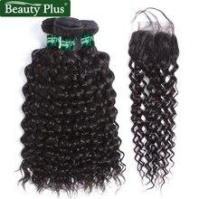 Бразильские палочки для волос с закрытием Водяная волна 3 Связки с кружевным закрытием 4 * 4 Beauty Plus Human Hair Non Remy