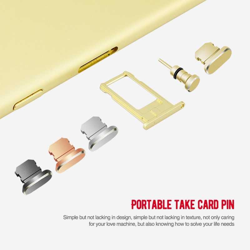 אבק תקע טלפון נייד תשלום יציאת Stopple כרטיס חור dustproof עבור iPhone 4 5 5S SE 6 6 s 7 8 בתוספת X אלומיניום סגסוגת
