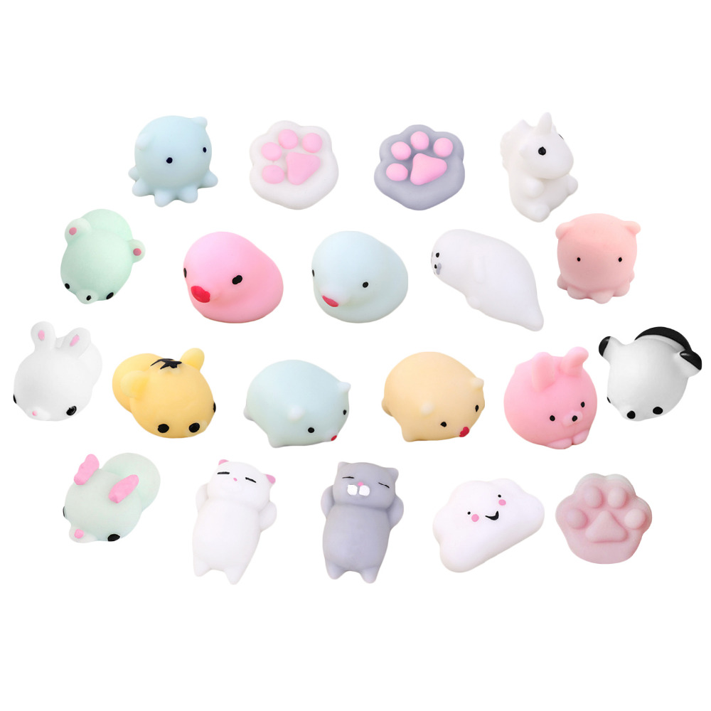 Besegad 10 PCS Cute Kawaii Soft Squishy Squeeze Cartoon Animal Toy Slow Rising For Kids Adults Relieves Stress Anxiety Home Deco