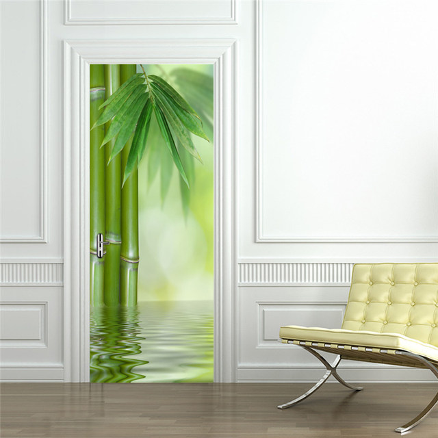 Green Bamboo Forest Leaf 3D Photo Wallpaper Home Decor Modern Living Room  Bedroom Door Sticker PVC Mural Self Adhesive Wallpaper
