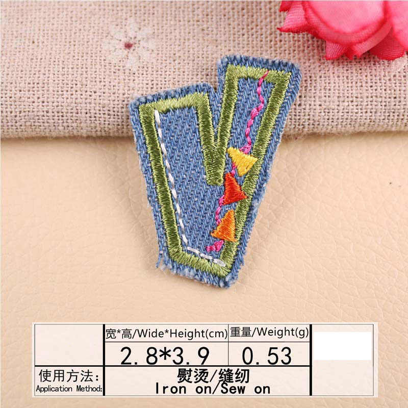 1 Pcs ג 'ינס מכתב רקמת תיקון חום העברות ברזל על לתפור על תיקוני DIY בגדי מדבקות דקורטיבי אפליקציות 47213