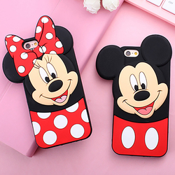 Mignon de Bande Dessinée Cas 3D Polka Dot Mickey Minnie Souris Coque en Silicone Souple Cas de Téléphone Pour iPhone X XS Max XR 8 7 Plus 6 6 S 6 Plus 5 5S