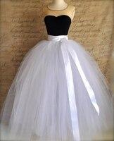 7 Layers 100cm Long Tulle Skirts Women Floor Length Pleated Skirt Fashion Wedding Bridal Bridesmaid Skirt Faldas Jupe Saias