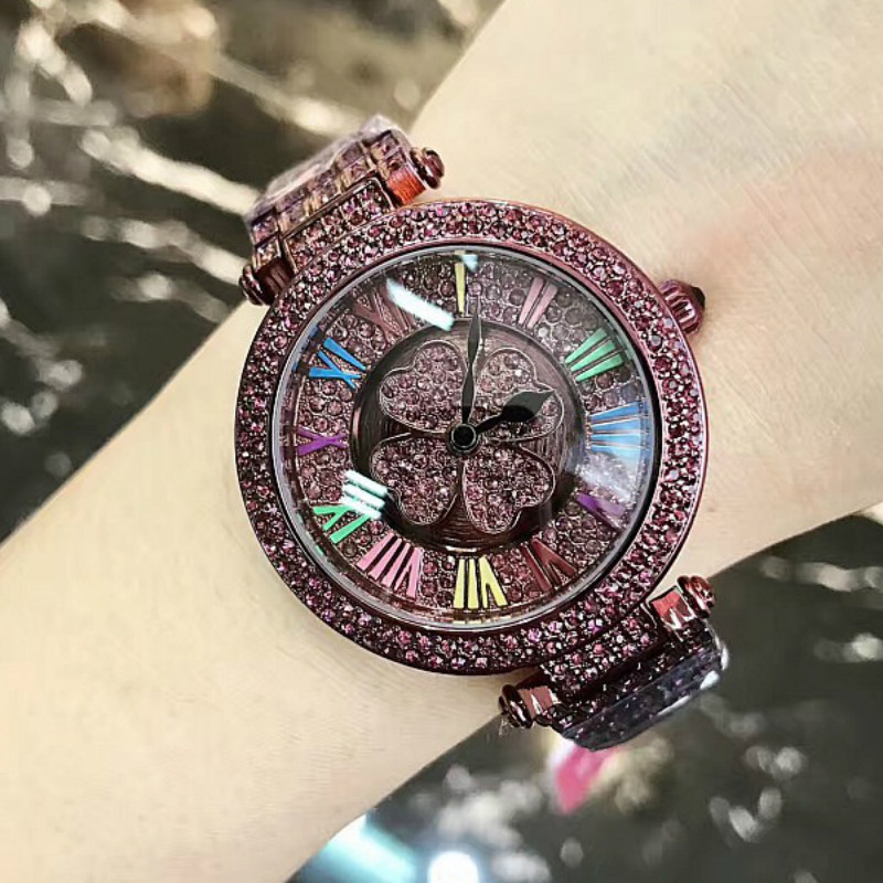 Newest Luxury Purple diamond fortunes durable high-grade Rotate Dial Women Girl stainless steel strap embedded diamond watch