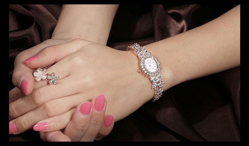16 50M Waterproof Selberan Gold/Silver Natural Zircon Wrist Watch for Women Luxury Ladies Bracelet Watch Montre Femme Strass 22