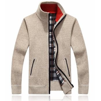 Drop shipping 2020 New Winter Warm Cashmere Wool Zipper Cardigan Sweaters Man Casual Knitwear Plus Size M-XXXL AXP146