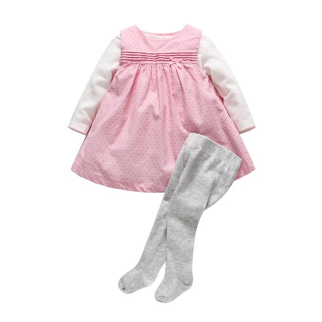 De alta Calidad de La Ropa Del Bebé Recién Nacido Bebé Mameluco Trajes de Niña de Algodón de lunares Vestido de Tirantes + Blanco + Gris pantimedias 3 unids Traje
