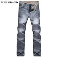 HEE GRAND 2017 Hot Sale Men Full Length Jeans Mid-Waist Slim Fitted Casual Straight High Elastic Male Denim Trousers MKN970