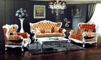 French Style Orange Color Fabric Sofa Sets Living Room Furniture Antique Style Wooden Sofa From Foshan