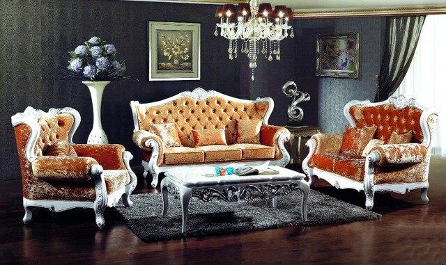 Stile francese di colore arancione tessuto divano set mobili ...