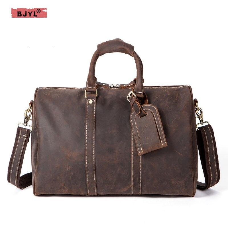 558a05641ac4 BJYL масло воск холст с crazy horse кожа мужской портфель европейские и  американские мужские сумки ретро