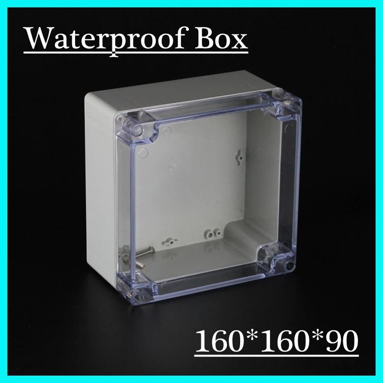 (1 piece/lot) 160*160*90mm Clear ABS Plastic IP65 Waterproof Enclosure PVC Junction Box Electronic Project Instrument Case 65 95 55mm waterproof case