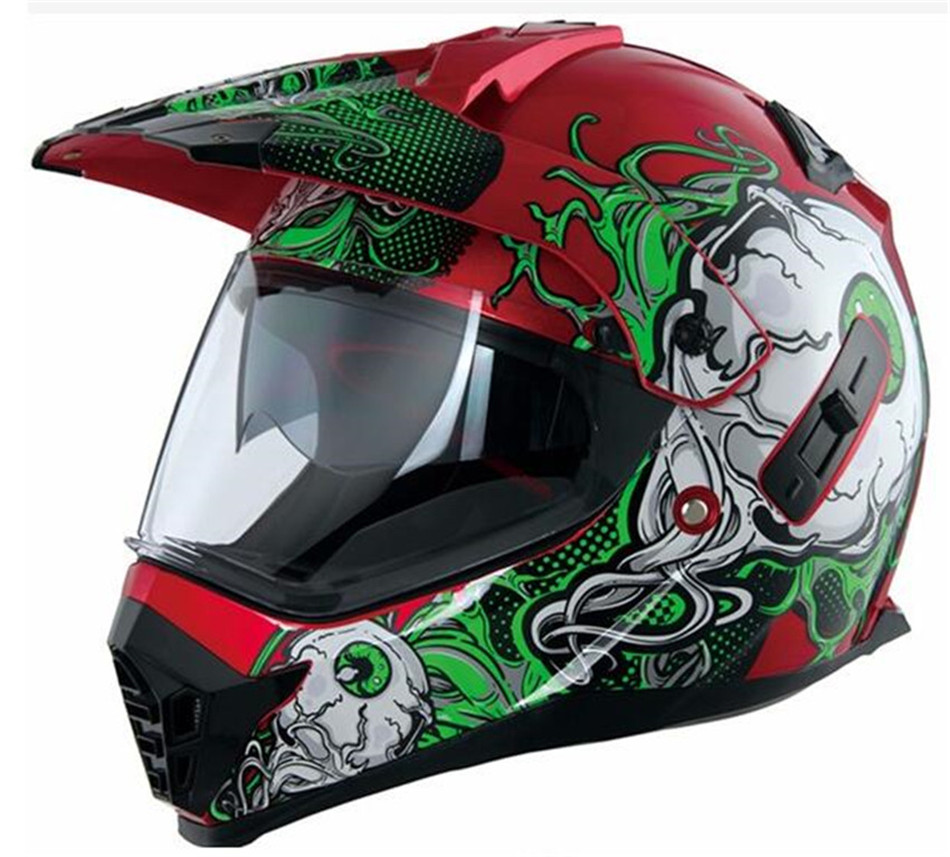 Pioneer motorcycle helmet with sun shield atv dirtbike cross motocross helmet double lens off road racing moto helmets