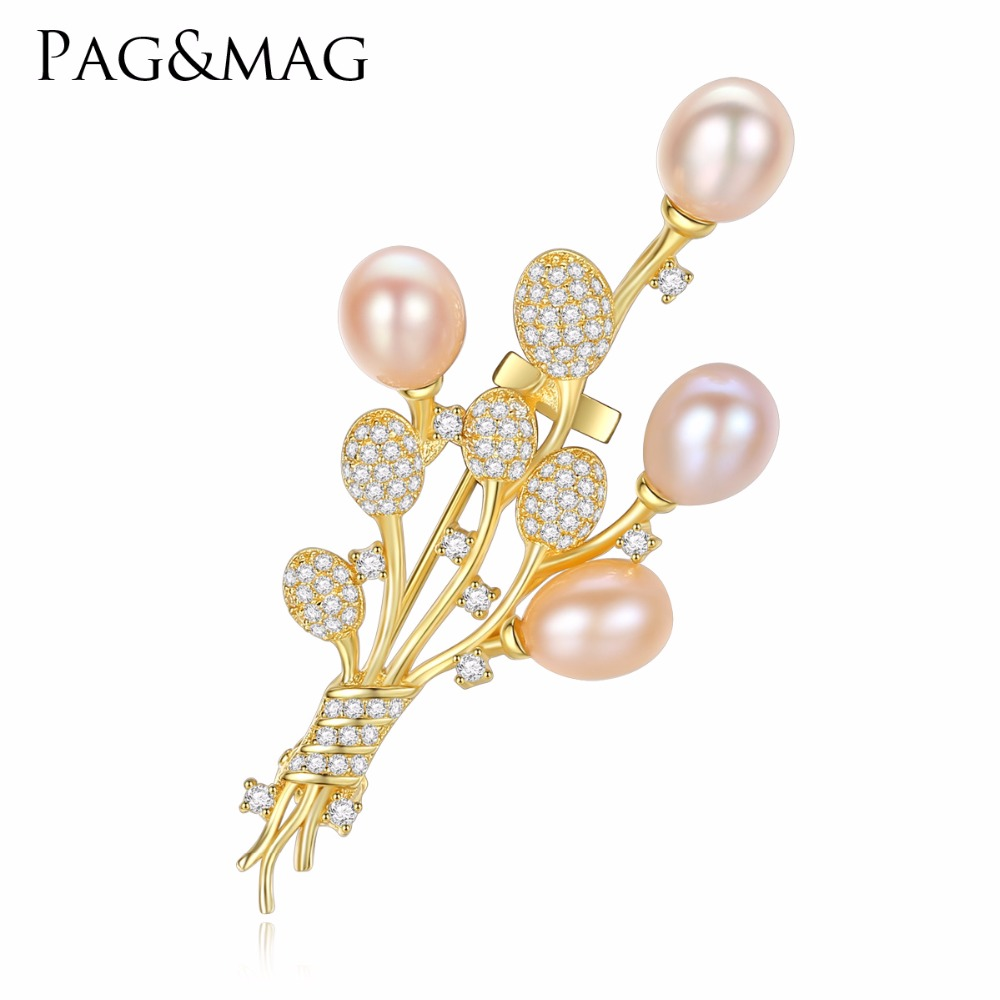 PAG&MAG Brand Silver 925 Fine Jewelry High Quality Vintage Brooch Pins Zircon Natural Pearl Flower Brooch Wedding Accessories