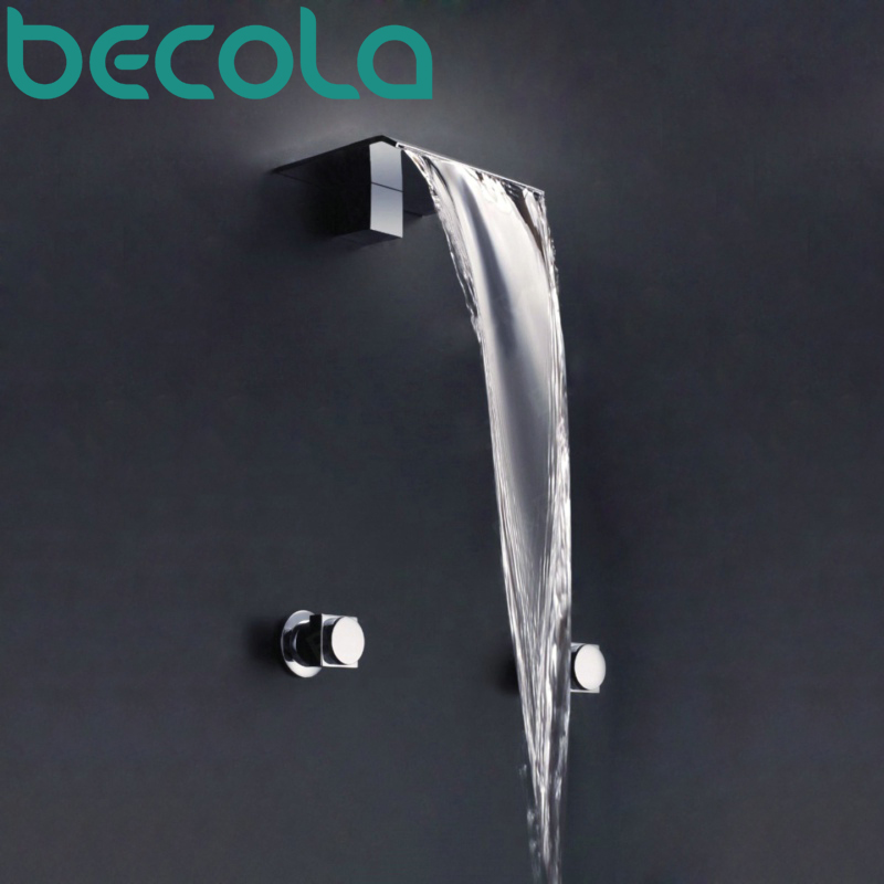 BECOLA Brand Design Waterfall Bathroom Faucet Basin Mixer Tap Chrome Wall Mount 3PCS Hot & Cold Water Brass Tap LT-301B becola chrome waterfall bathroom faucet brass hot and cold water faucet free shipping lt 601