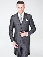 High Quality Peaked Lapel Gray Men Suits Slim Fit Costume Homme Marriage Fashion Men Blazer Pants(Jacket+Pant+Tie+Vest)