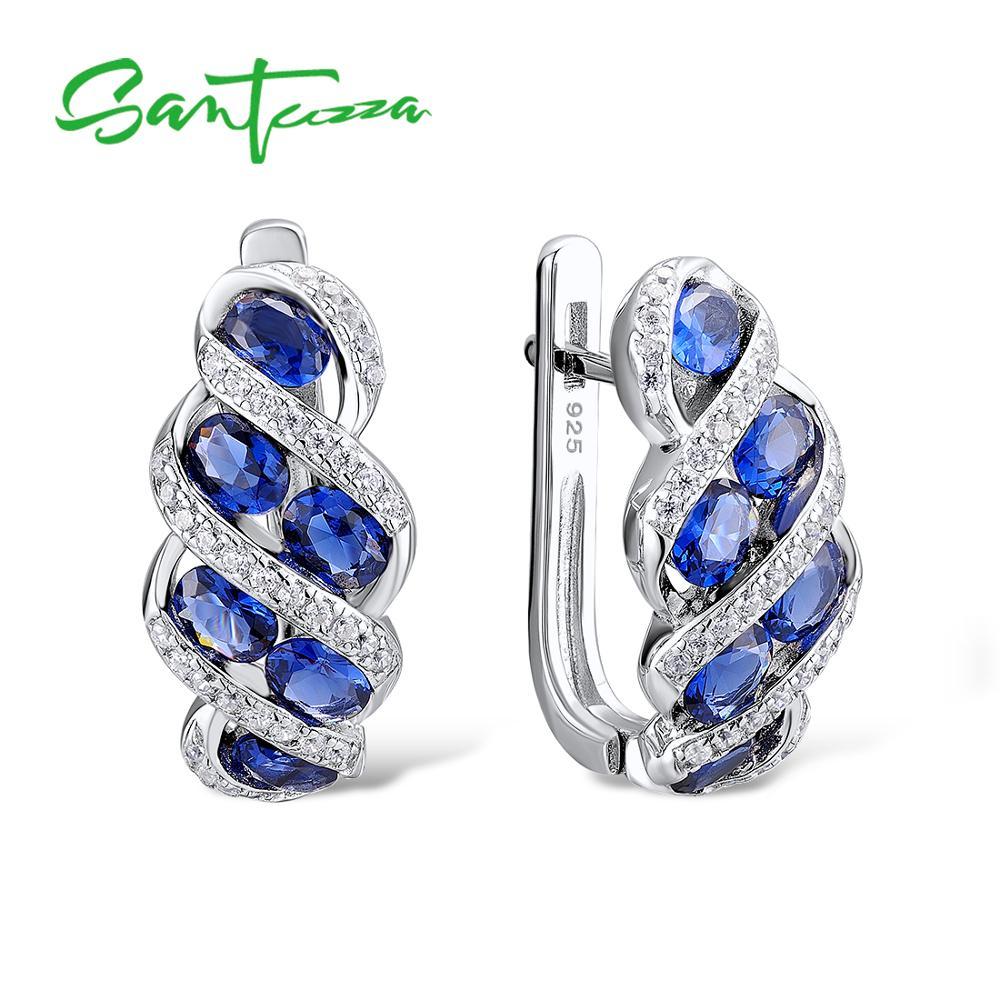 Santuzza argent boucles d'oreilles pour les femmes bleu Nano cubique zircone pierres dames pur 925 en argent Sterling partie bijoux de mode