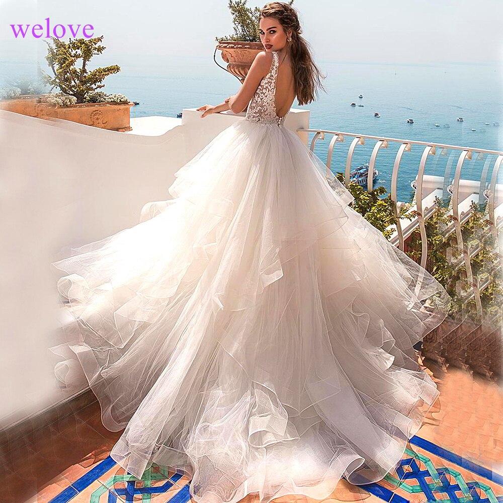 Jupe à plusieurs niveaux plissé pur blanc mariage Dress2019 épaule dénudée longue volants grande taille nouvelle robe De mariée Vestige De Noiva