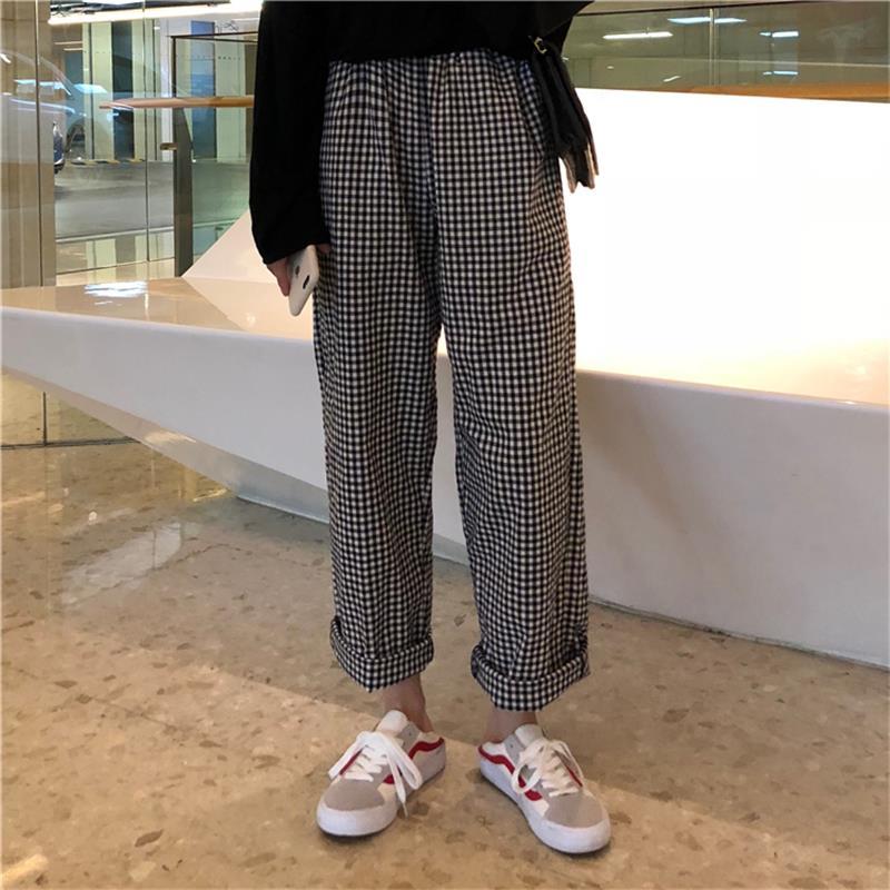Female Cute Japan Harajuku Casual Loose Plaid Wide Leg Pants Women's Trousers Japanese Kawaii Harajuku Ulzzang Denim For Women