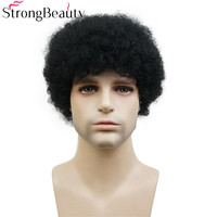 Strong Beauty Afro Short Kinky Curly Wigs Human Hair Wig for Women or Men African American Full Wig Natural Black