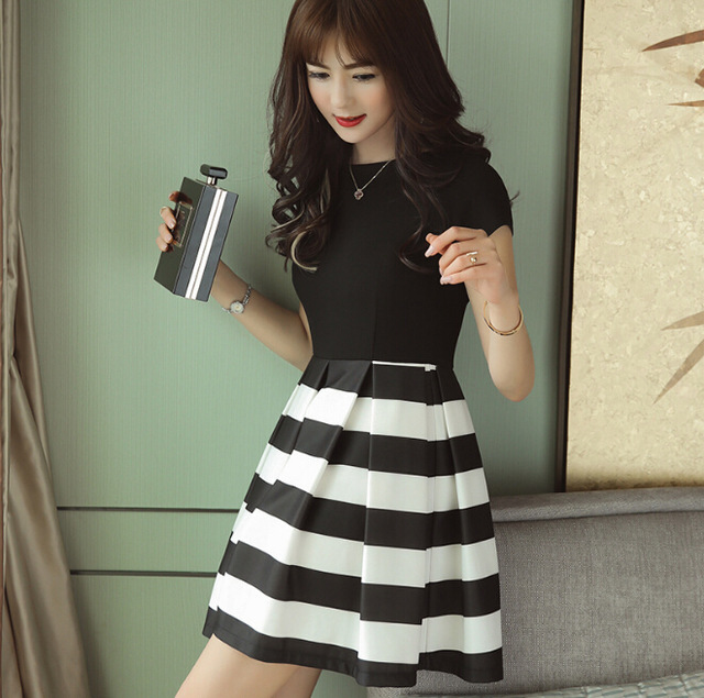 52e43e528621 Summer dress women clothing bodycon dress Korean cute patchwork short  sleeve black dress fashion slim girl Vestidos