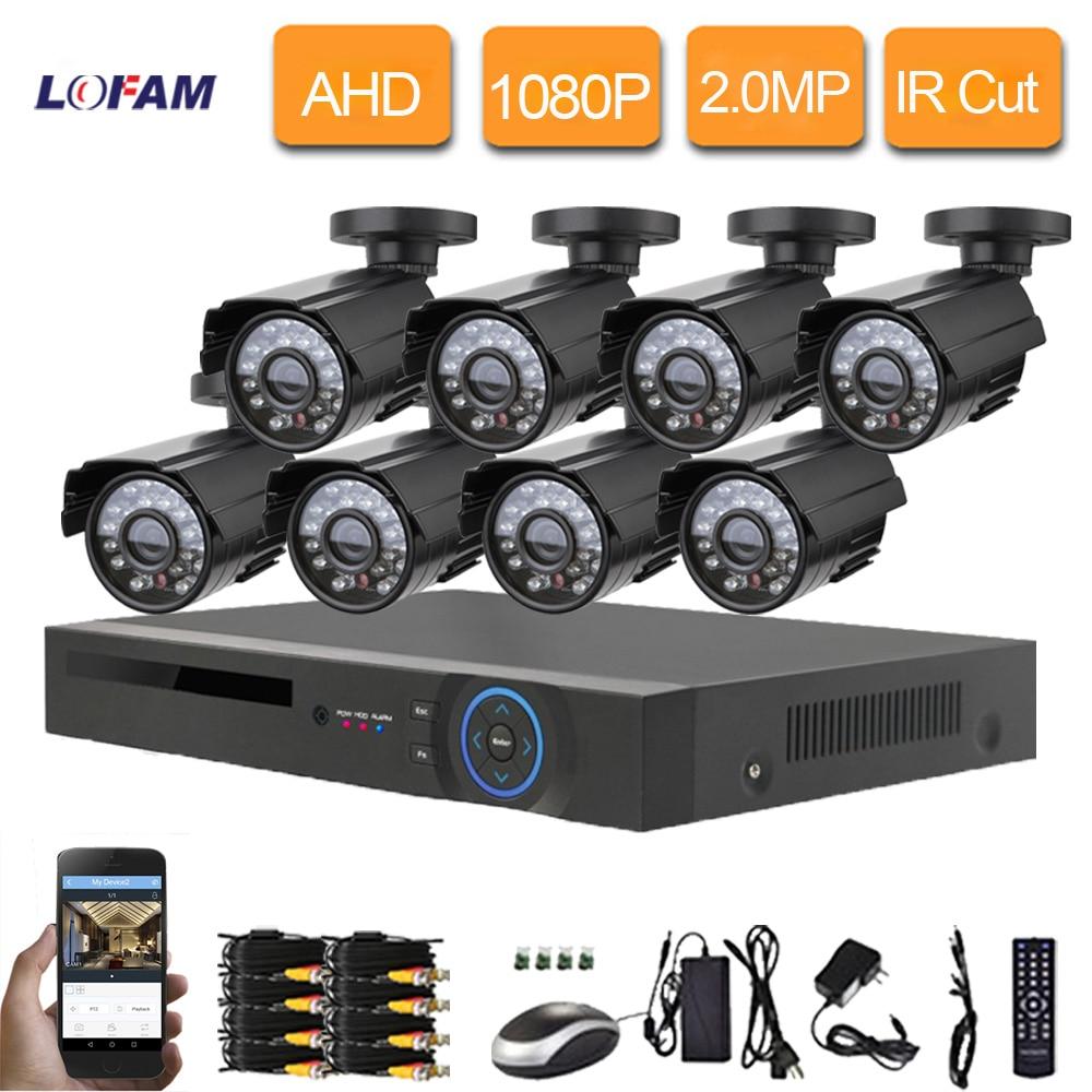 LOFAM 2 0MP CCTV 8CH DVR System HD AHD 8 Channel HDMI 1080P DVR Kit Video