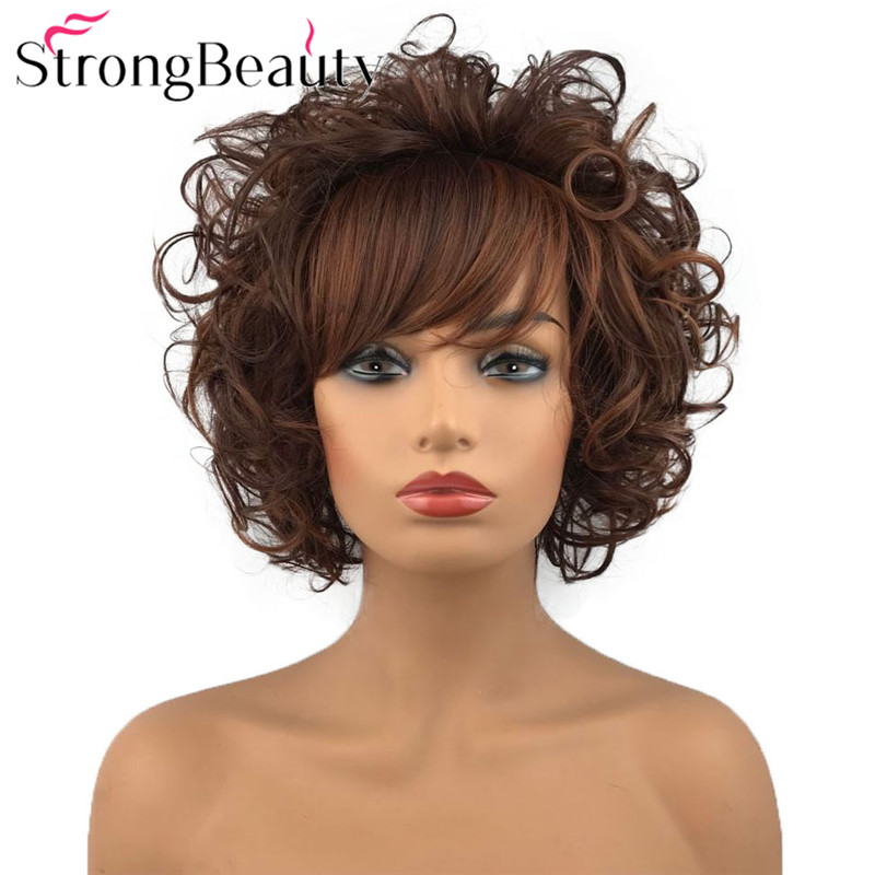 StrongBeauty Short Curly Wig Synthetic Wig for Women Red Brown Wig with Bangs 8 Inch(China)