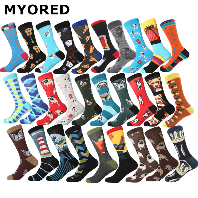 colorful men's   socks   cotton cute pattern fashion streetwear novelty dog tiger rooster sleepy sloths fish stripes man women   socks