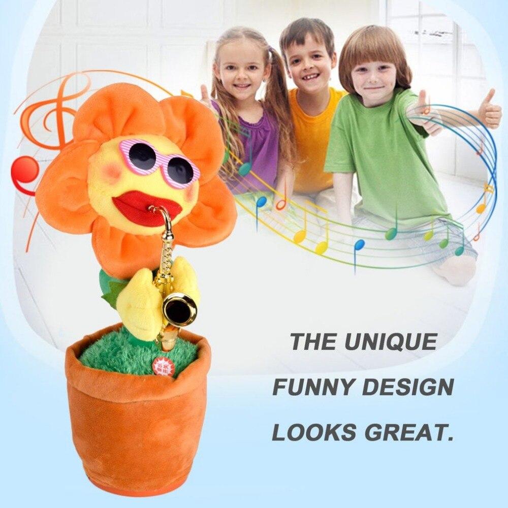 Megaphon 60 Songs Singen Tanzen Blume Puppe Sunflower Plüsch Spielzeug Mit Saxophon Weiche Gefüllte Lustige Elektrische Spielzeug Für Kinder Weihnachten Geschenk