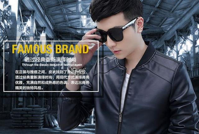 The new spring 2016 men's pu leather jacket coat han edition cultivate one's morality and velvet garment factory direct sale!