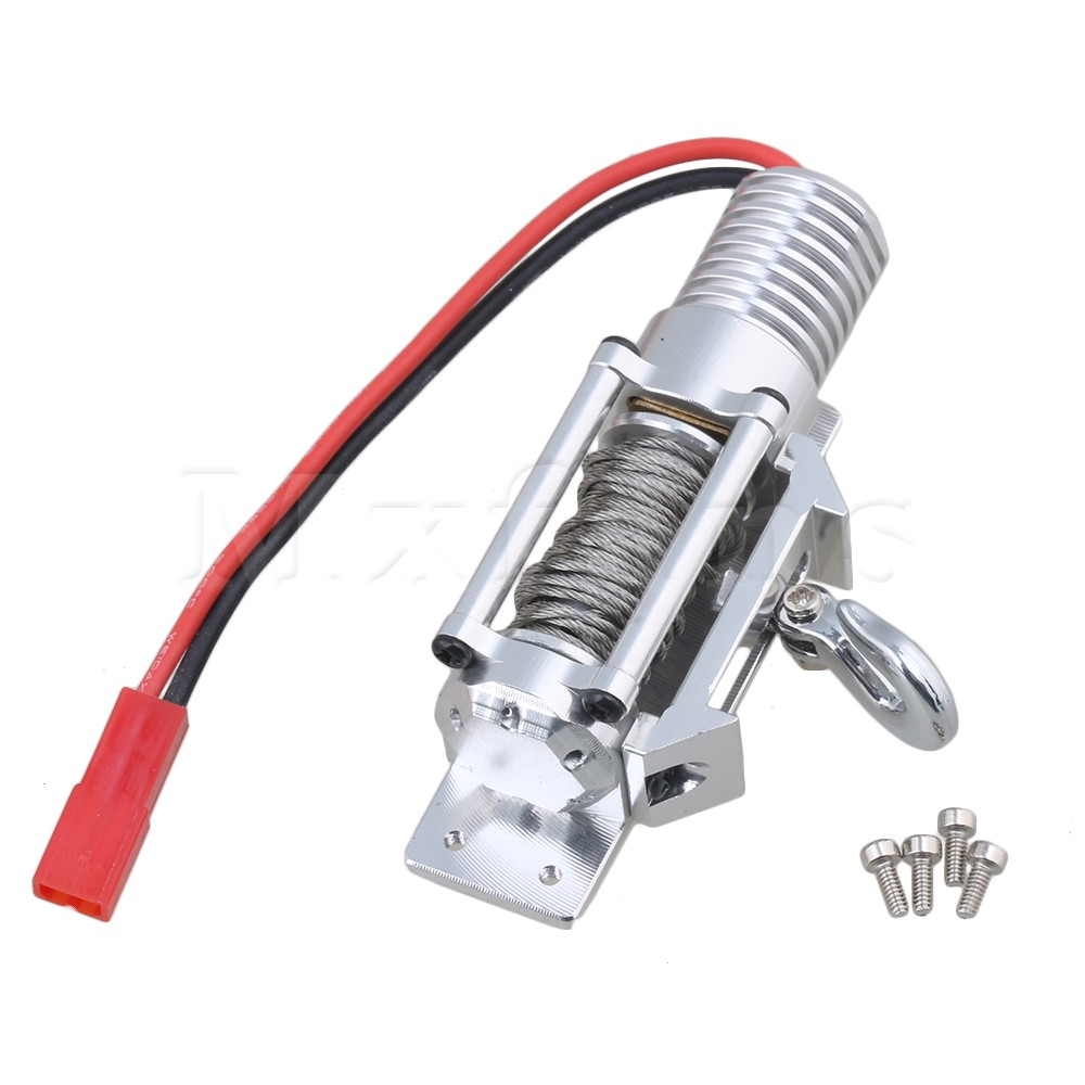 Mxfans Silver RC1:8 1:10 1:18 FZ0019 Aluminum Alloy Plastic Electric Winch Upgrade Parts for Climbing Rock Crawler