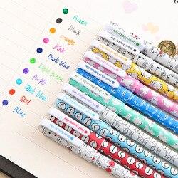 10 قطعة/الوحدة لون القلم هلام الأقلام Kawaii القلم Boligrafos Kawaii Canetas اجتماعيون لطيف الكورية القرطاسية لطيف القط هلام القلم