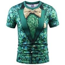 Fashion Fake Two Pieces T-shirt Men/Women 3d T shirt Print Green Floral Suit Jacket Tops Tees Summer T shirts Plus S-3XL R1863