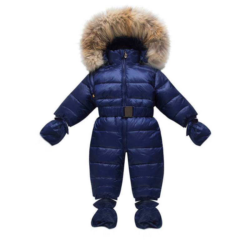 Winter Children Snow Coveralls Baby Snowsuit Real Fur Collar Infant Toddler Snowsuits Boys Girls Duck Down