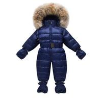 Winter Children Snow Coveralls Baby Snowsuit Real Fur Collar Infant Toddler Snowsuits Boys Girls Duck Down Jumper Gloves Socks