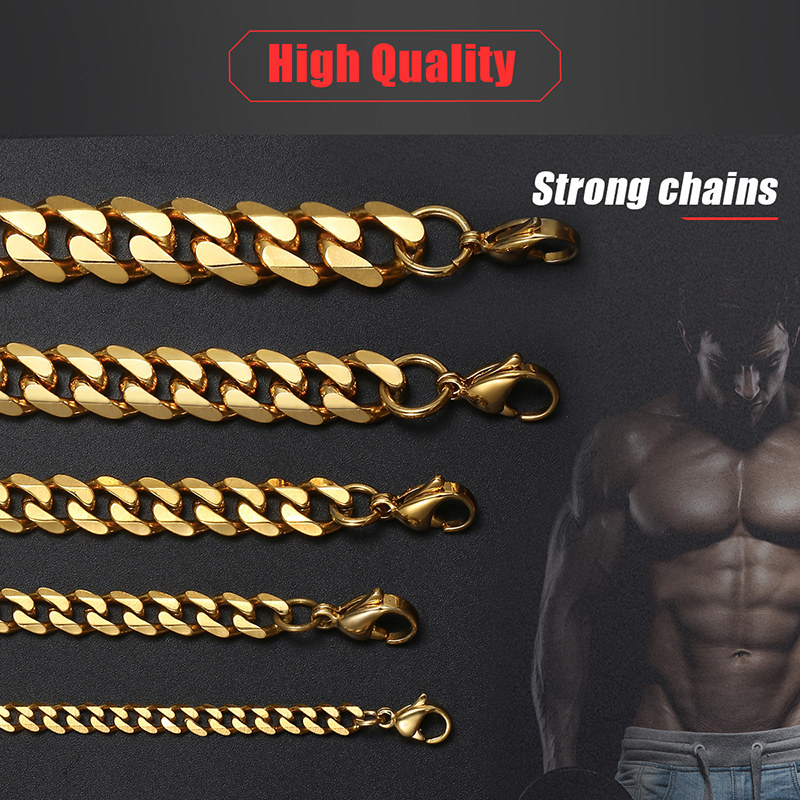 Mens Necklaces Chains Stainless Steel Silver Black Gold Necklace for Men Women Curb Cuban Davieslee Jewelry 3/5/7/9/11mm DLKNM08 4