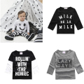 Baby Girls Letter Print T-Shirt Toddler Long Sleeve Tops Blouse Cotton Kids T Shirt Girls Clothing Fashion Smiling Face T Shirt