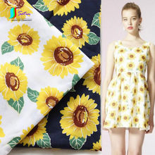 Navy,Rice White Background Sunflower Pattern Printed Cotton Fabric,Baby Skirt Sewing Breathable Fabric S0117L(China)
