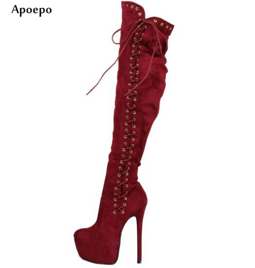 Apoepo Newest Woman Wine Red Over the Knee Boots Sexy Side Lace-up Platform High Heel Boots Ultra High Thigh high Boots jialuowei women sexy fashion shoes lace up knee high thin high heel platform thigh high boots pointed stiletto zip leather boots