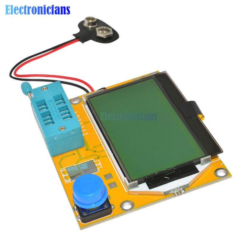 LCR-T4 Mega328 M328 multímetro de la retroiluminación de la pantalla LCD Transistor Tester de triodo capacitancia ESR Metro 12864 pantalla MOS PNP, NPN LCR